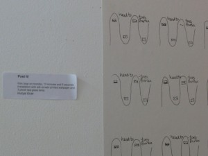 Post It video loop and wall paper 'Head-to-toes burka' , MA Fine Arts Finale Exhibition